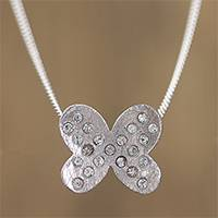 Sterling silver pendant necklace, 'Fluttering Wings' - Sterling Silver Butterfly Embedded Crystals Pendant Necklace