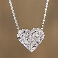 Sterling silver pendant necklace, 'Love's Desire' - Sterling Silver Heart Embedded Crystals Pendant Necklace