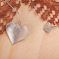 Sterling silver collar necklace, 'Heart Sparkle' - Sterling Silver and Crystal Heart Collar Necklace