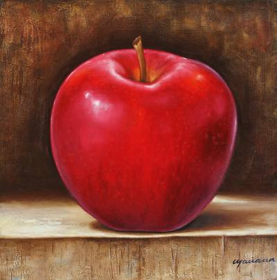 'Delights of Passion' - Signed Still Life Painting of a Red Apple from Mexico