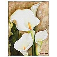'Divine Passion' - Signed Painting of Calla Lily Flowers from Mexico