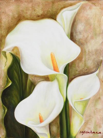 Unicef Market Signed Painting Of Calla Lily Flowers From Mexico