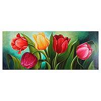 'Tulips' - Signed Expressionist Painting of Tulips from Mexico