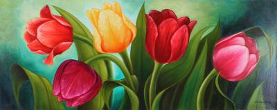 'Tulips' - Signed Painting of Tulips from Mexico