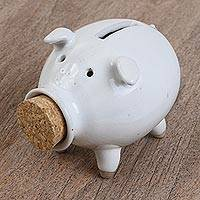 Ceramic piggy bank, 'Cute Pig in White' - Handcrafted Ceramic Piggy Bank in White from Mexico