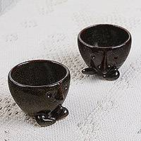 Ceramic mini flower pots, 'Whiskers in Dark Brown' (pair) - Handcrafted Ceramic Mini Flower Pots in Dark Brown (Pair)