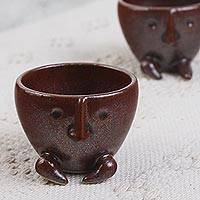 Ceramic mini flower pots, 'Whiskers in Brown' (pair) - Handcrafted Ceramic Mini Flower Pots in Brown (Pair)