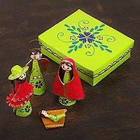 Papier mâche nativity scene, 'Cheerful Scene in Chartreuse' - Red Bright Green Floral Motif Papier Mâche Nativity Scene