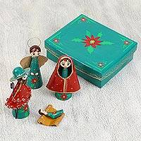 Papier mâche nativity scene, 'Cheerful Scene in Emerald' - Red and Deep Green Floral Motif Papier Mâche Nativity Scene