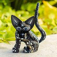 Wood alebrije figurine, 'Black Fox' - Wood Alebrije Fox Figurine in Black from Mexico