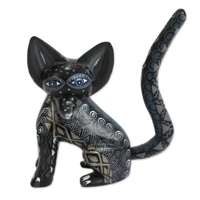 Wood alebrije figurine, 'Black Fox' - Wood Alebrije Fox Figurine in Black from Mexico