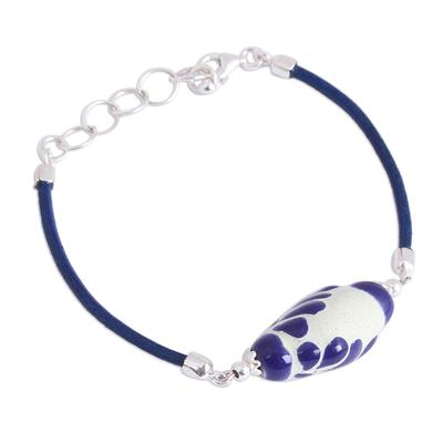 Talavera Ceramic and Leather Pendant Bracelet in Blue