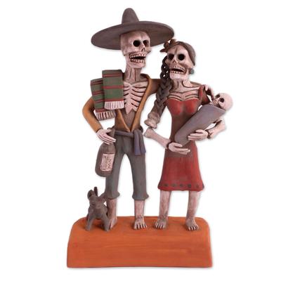Ceramic statuette, 'Ancestor Family' - Handcrafted Skeleton Family Ceramic Statuette from Mexico