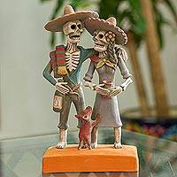 Ceramic sculpture, 'Ancestors Celebrate' - Handcrafted Celebrating Skeleton Couple Ceramic Sculpture