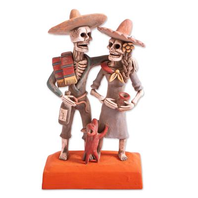 Ceramic sculpture, 'Ancestors Celebrate' - Handcrafted Celebrating Skeleton Couple Ceramic Sculpture