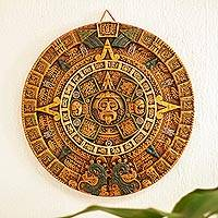 Ceramic wall art, 'Fifth Sun in Orange' - Aztec Fifth Sun Calendar Museum Replica Ceramic Wall Art
