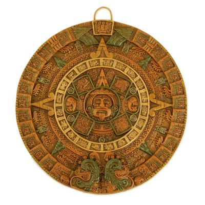 Ceramic wall art, 'Fifth Sun in Orange' - Aztec Fifth Sun Calendar Museum Replica Ceramic Wall Art