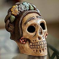 Ceramic figurine, 'Honoring Frida' - Handcrafted Ceramic Skull Figurine Honoring Frida Kahlo