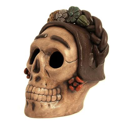 Ceramic figurine, 'Honoring Frida' - Handcrafted Ceramic Skull Figurine Honoring Frida Kahlo