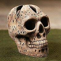 Ceramic figurine, 'Tzompantli Skull' - Handcrafted Ceramic Skull Inspired by Tzompantli from Mexico