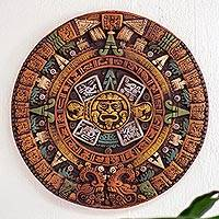 Ceramic relief panel, 'Fifth Sun in Yellow' - Museum Replica Fifth Sun Aztec Calendar Ceramic Relief Panel