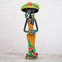 Ceramic statuette, 'Garden Catrina in Harvest Gold' - Day of the Dead Catrina Ceramic Figurine in Golden Dress