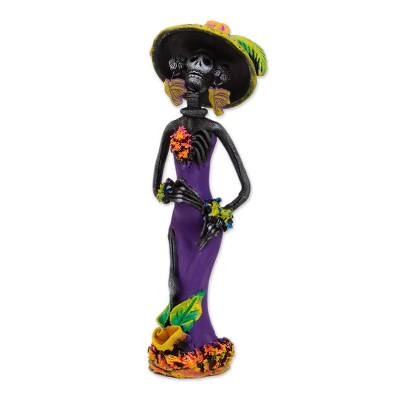 Ceramic statuette, 'Sweet Tooth Catrina - Day of the Dead Catrina Ceramic Figurine in Purple Dress