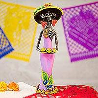 Ceramic statuette, 'Strolling Catrina' - Day of the Dead Strolling Catrina Ceramic Figurine