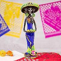 Ceramic statuette, 'Catrina with Fruit' - Day of the Dead Catrina Ceramic Figurine in Blue Dress