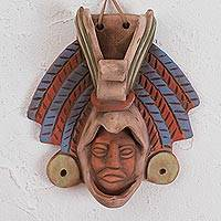 Ceramic wall mask, 'Noble Eagle' - Earthtone Noble Eagle Warrior Handcrafted Ceramic Wall Mask