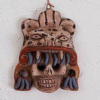 Ceramic mask, 'Fallen Warrior' - Earthtone Skull and Jaguar Handcrafted Ceramic Wall Mask