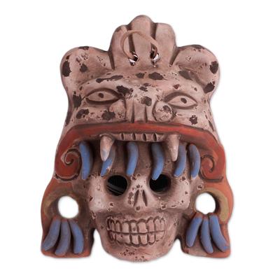 Ceramic mask, 'Fallen Warrior' - Earthtone Skull and Jaguar Handcrafted Ceramic Wall Mask