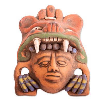 Ceramic mask, 'Warrior Hunter' - Red-Orange Jaguar Warrior Handcrafted Ceramic Wall Mask