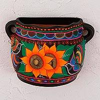 Ceramic wall flower pot, 'Floral Growth' - Hand-Painted Floral Ceramic Wall Flower Pot from Mexico