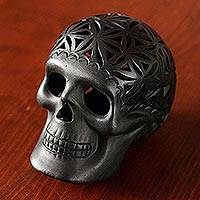Ceramic figurine, 'Skull Tradition' - Seed Motif Barro Negro Ceramic Skull Figurine from Mexico
