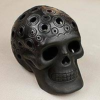 Ceramic figurine, 'Macrocosm Skull' - Circle Motif Barro Negro Ceramic Skull Figurine from Mexico