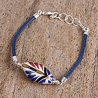Ceramic pendant bracelet, 'Colorful Talavera' - Colorful Talavera Ceramic and Leather Pendant Bracelet