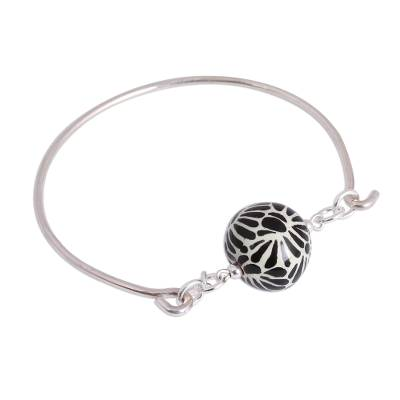 Black Talavera Ceramic and Sterling Silver Pendant Bracelet