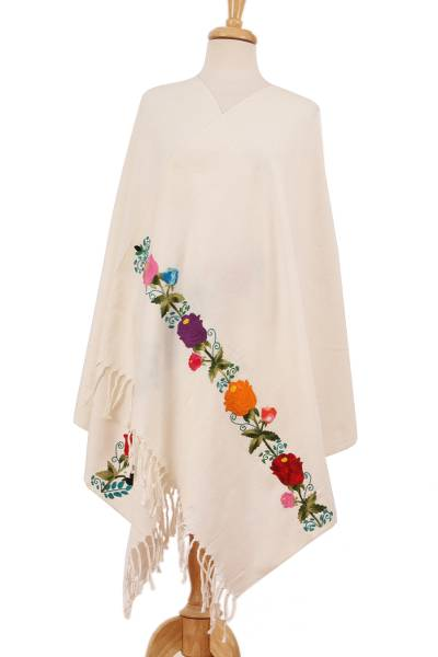 Cotton shawl, 'Garden Promenade' - Handcrafted Antique White with Colorful Roses Cotton Shawl