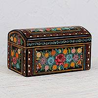 Wood decorative box, 'Beauty in My Eyes' - Hand-Painted Colorful Floral Wood Decorative Box from Mexico