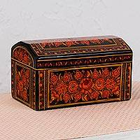 Wood decorative box, 'Fire of My Heart' - Hand-Painted Orange Floral Wood Decorative Box from Mexico