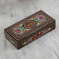 Wood decorative box, 'Bouquet Oasis' - Colorful Floral Motif Wood Decorative Box from Mexico