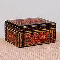 Wood decorative box, 'Passionate Bouquet' - Orange Flower Motif Wood Decorative Box from Mexico
