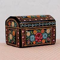 Wood decorative box, 'Memory Flowers' - Artisan Crafted Floral Wood Decorative Box from Mexico