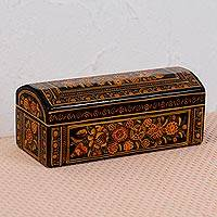 Wood decorative box, 'Secrets of My Heart' - Orange Floral Wood Decorative Box from Mexico