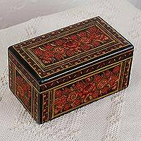 Wood decorative box, 'Fascinating Bouquet' - Hand-Painted Orange Wood Decorative Box from Mexico