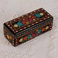 Wood decorative box, 'Traditional Bouquet' - Hand-Painted Floral Wood Decorative Box from Mexico