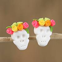 Cold porcelain button earrings, 'Sweet Skulls in Yellow' - Yellow and Pink Rose Catrina Cold Porcelain Button Earrings