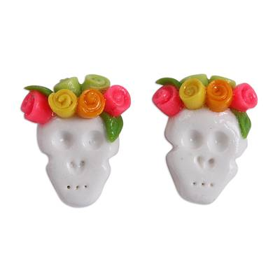 Yellow and Pink Rose Catrina Cold Porcelain Button Earrings