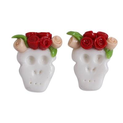 Red and Orange Rose Catrina Cold Porcelain Button Earrings